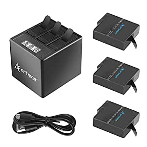 Artman GoPro Hero 5/6/7 1500mah Batteries (3 Pack) and 3-Channel LCD USB Storage Charger with Type-C Port for GoPro Hero 7 Black,Gopro Hero 6/5 Black,Hero 2018(Fully Compatible with Original)