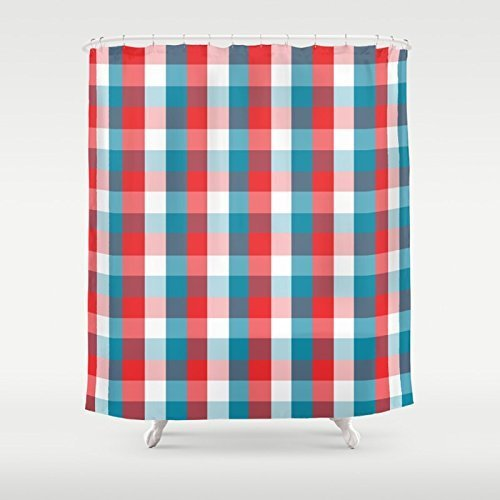 Red White U0026 Blue Shower Curtain | Extra Long Shower Curtain | Patriotic  Plaid Bath Decor