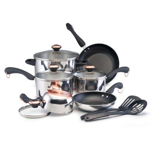 Paula Deen Signature Stainless Steel 12-Piece Cookware Set (Paula Deen Copper Bottom Cookware compare prices)