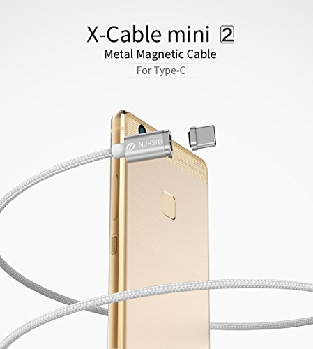 Wsken Magnetic Type C Cable, Nylon Braided Charger Lead with Metal Plug LED Indicator Light for Samsung Galaxy S8, S8+, Huawei P9/P9 Plus, Nintendo Switch, Google Pixel, Nexus 6P, LG V20 G5 & More