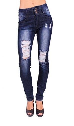 Machine Jeans Women Distressed Skinny Jeans with 3 Front Button 3 Dark Denim