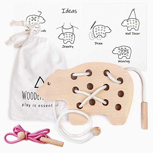 Handmade Natural Wooden Bear & Lacing Toy Montessori Activity Learning Early Development Educational - Travel Bag Eco Friendly Toy for Young Children and Baby
