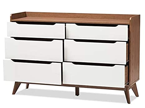 Amazon.com: Chester Drawers - White Brown Wood Six Drawer ...