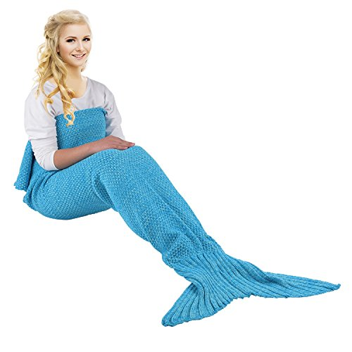 Blue Hawaiian Classic Fabric (Handmade Mermaid Tail Blanket Crochet, Ibaby888 All Seasons Warm Knitted Bed Blanket Sofa Quilt Living Room Sleeping Bag for Adults, Classic Pattern, 70.9
