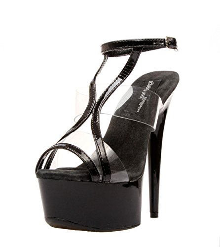 The Highest Heel Women's Amber-591 6 Inch Platform Sandal,Black Patent,8 M US