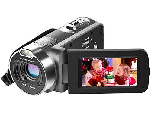Camcorder, Besteker 1080P HD Video Camera for YouTube Vlogging Camera with 24M 16X Digital Zoom 2.7 Inch LCD and 270 Degree Rotation Screen ... (Gray)