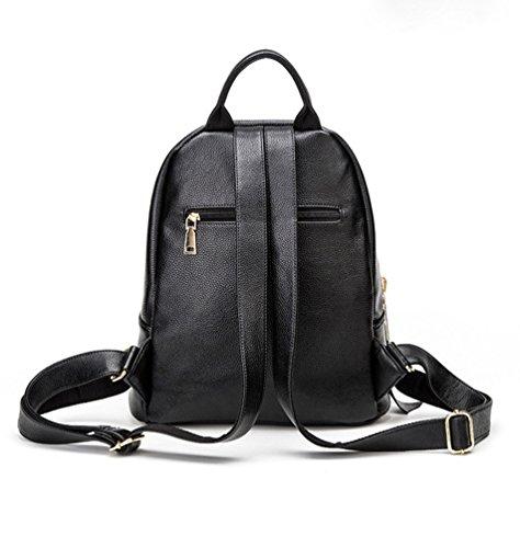 Casual Cuero Bolsas Negro Moda Para Pu Mujer Escuela Niseng Viaje Mochila Bolsa La De Estudiante Daypack xZv7qIwq