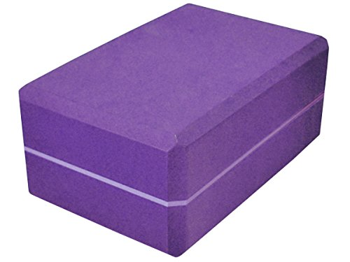 YogaAccessories 4'' Premium Density Striped Foam Yoga Block - Purple