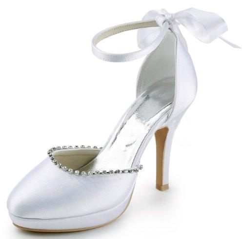 Honeystore Rhinestone Wedding Silk Women's Bows with Pump rU7xHr