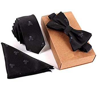 Tie and Bow Tie Set Pocket Square Necktie Woven Gift Box
