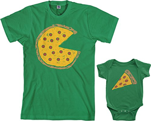 - Threadrock Pizza Pie & Slice Infant Bodysuit & Men's T-Shirt Matching Set (Baby: 12M, Kelly Green|Men's: M, Kelly Green)
