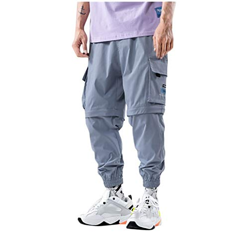 Sunhusing Men's Patchwork Stitching Detachable Pants Big Pocket Two-Piece Wearing Overalls Shorts Blue
