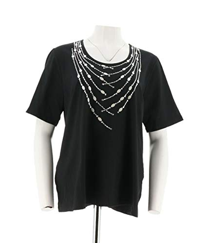 Bob Mackie Short SLV Knit Top Studded Black 3X New A275318