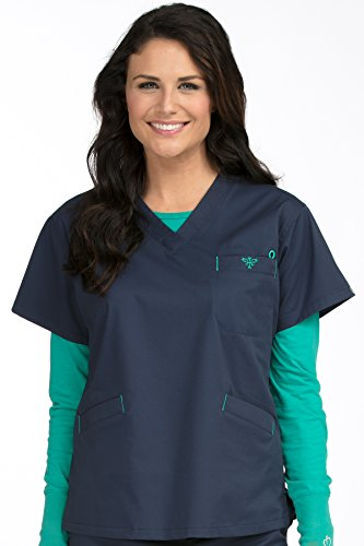 Med Couture Women's V-Neck Signature 3 Pocket Scrub Top, New Navy/Spearmint, Large