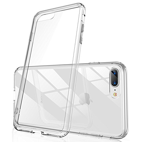 Casekoo iPhone 8 Plus Case, iPhone 7 Plus Pure Clear Case [9H Hard Glass Back] Soft TPU Bumper Anti-Scratch Transparent Case Cover Compatible with iPhone 8 Plus/7 Plus [Ice Series]-Crystal Clear ()