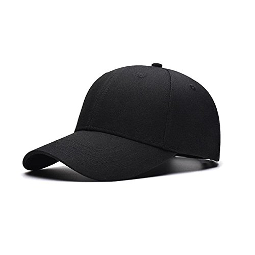 TRADERPLUS Cotton Plain Baseball Cap Blank Hat Solid Color, Adult (Black)