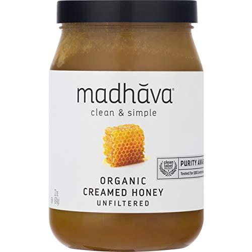 MADHAVA Organic Amber Honey, Creamed, 22 oz. Jar (Pack of 1) | Natural Sweetener, Sugar Alternative | 100% Pure Organic Honey | Pure Honey | USDA Organic | Non GMO | Liquid Sweetener
