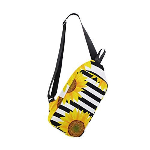 (SLHFPX Sling Bag Sunflowers Stripes Womens Chest Shoulder Backpacks Crossbody Body Daypack)