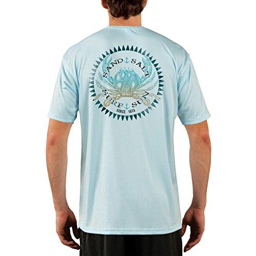 SAND.SALT.SURF.SUN. Vintage Crab Men's UPF 50+ Short Sleeve T-Shirt Medium Arctic Blue ()