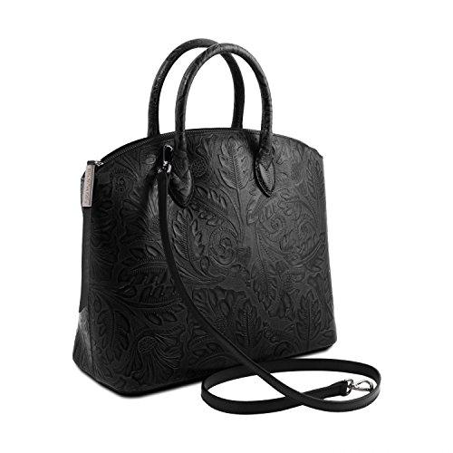 shopper stampa Leather Tuscany in pelle Borsa Gaia Grigio TL141670 Nero floreale qYqndtH