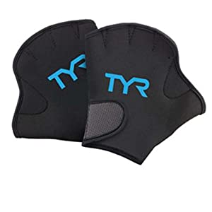 TYR Aquatic Resistant Gloves, Large, Black/Blue