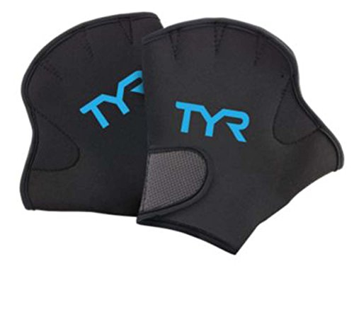 TYR Aquatic Resistant Gloves, Large, Black/Blue