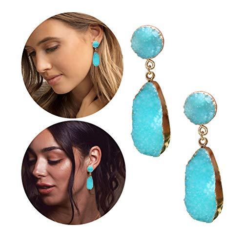 New! Chunky Earrings for Women Turquoise Blue Color Earrings Super Lightweight Earrings Synthetic Druzy Drusy Earrings Christmas Gift Earrings