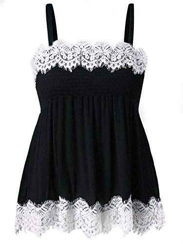 Ruffle Cami Trim (GAMISS Women's Spaghetti Strap Lace Trim Cami Tank Top Plus Size Smocked Summer Ruffle Hem Vest)