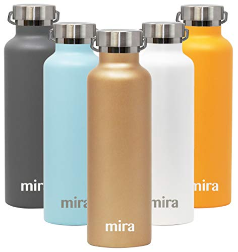 MIRA Alpine Stainless Steel Vacuum Insulated Water Bottle with 2 Lids | 25 oz (750 ml) | - Bottle Ml Champagne 750