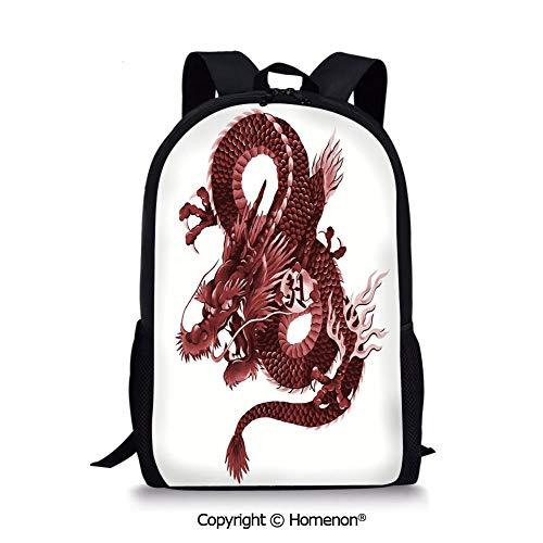Red Dragon Shoulder Puppet - Burgundy Light Pink,design Backpack School Bag for Kids Back to School(17.3