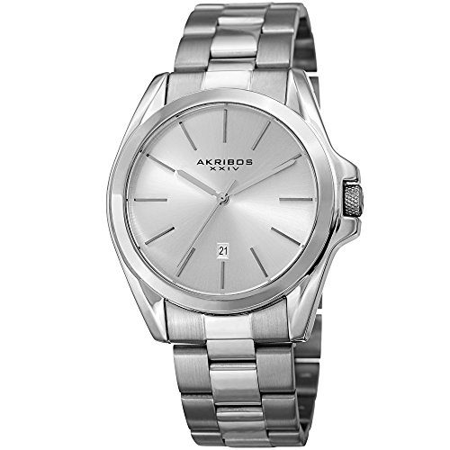 Akribos XXIV Unisex Silver Tone Case on Stainless Steel Silver Bracelet with Silver Dial and Silver Tone Hands Watch AK948SS