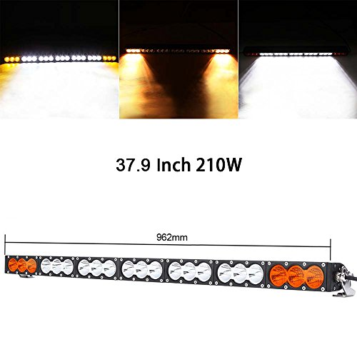 Single Row 37.9 Inch 210W Cree LED Offroad Light Bar White Amber Yellow Spot/Flood/Combo Beam Truck Atv Boat Led Work Lamp Running Lights Headlight 210 Single