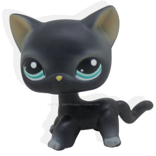 #994 Littlest Pet Shop Black Short Hair Cat Kitty Blue Eyes Toy LPS (Eye Makeup Ladybug Costume)