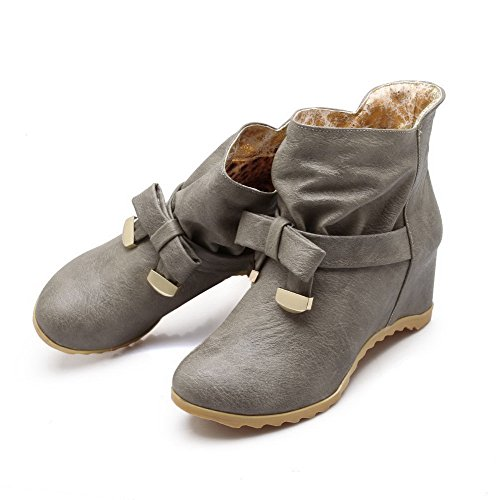 Allhqfashion Women's Solid PU High-Heels Pull-On Round Closed Toe Boots Gray 0b4ISpBh07