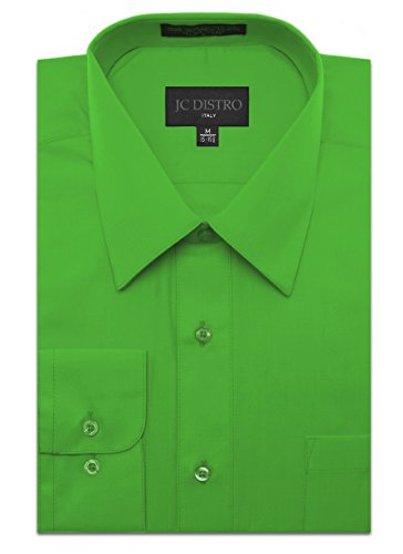 Green Herringbone Dress Shirt - JC DISTRO Men's Regular Fit Dress Shirt w/Pocket 17-17.5 Neck-34/35Sleeve (XL) Green