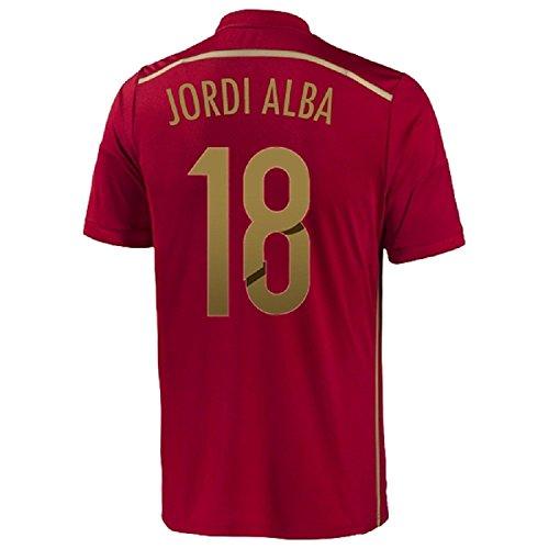 クラッシュみなさん断言するAdidas Jordi Alba #18 Spain Home Jersey World Cup 2014/サッカーユニフォーム スペイン ホーム用 ワールドカップ2014 背番号18 ジョルディ?アルバ