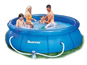 Bestway 10ft x 30in fast set swimming pool with filter pump 57109 toys games for 10ft swimming pool with pump and cover