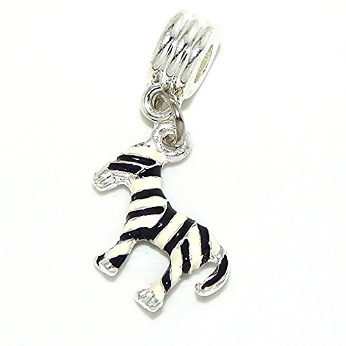 Pro Jewelry Dangling Zebra Bead Compatible with European Snake Chain Bracelets
