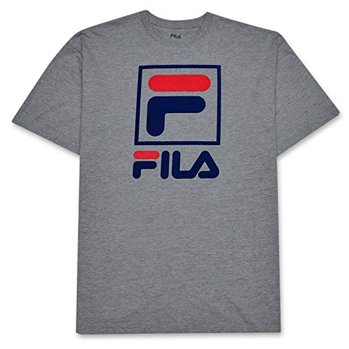 Fila T Shirt for Men Big and Tall with Stacked LogoHeather Grey 2X ()