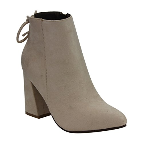 Women's Drawstring High Side Zipper Classical Ankle Wrapped Chunky Heel Booties, Color:Nude, Size:12