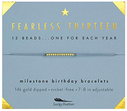 Lucky Feather Gifts for 13 Year Old Girl - 13th Birthday Bracelet with 14K Gold Dipped Beads on Adjustable 7-8 Cord, Designed in Los Angeles
