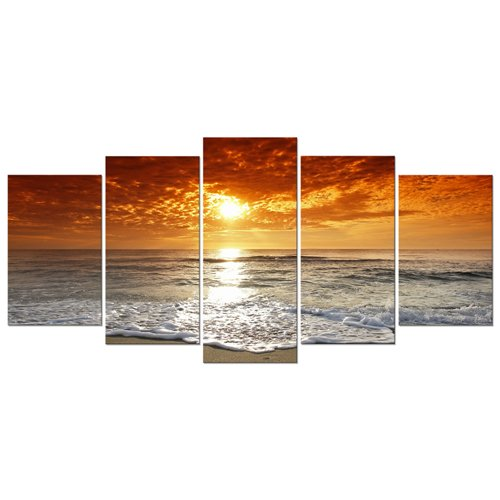 Wieco Art Grand Sight 5 Panels Modern Landscape Artwork HD S