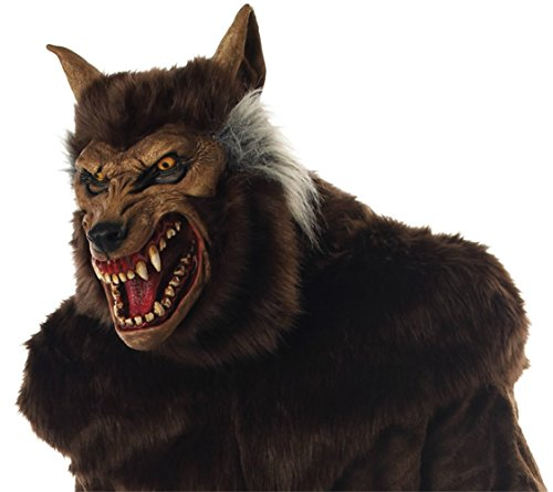 Werewolf Deluxe Scary Beast Monster Horror Latex Adult Halloween Costume Mask (Adult Wolf Latex Deluxe Mask)