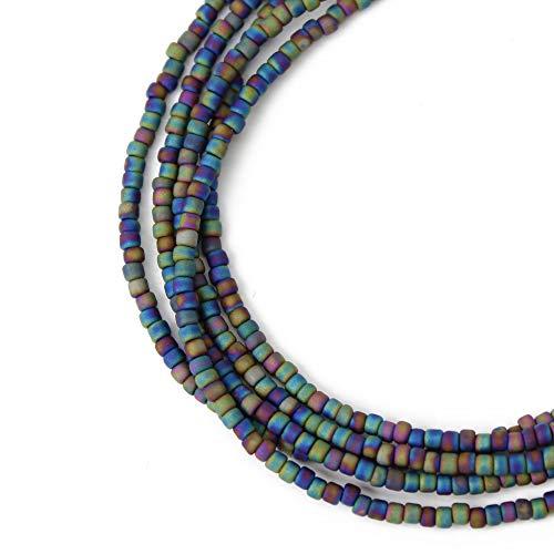Raku Blue Purple Seed Bead Necklace-Single Strand-Long to Short Lengths