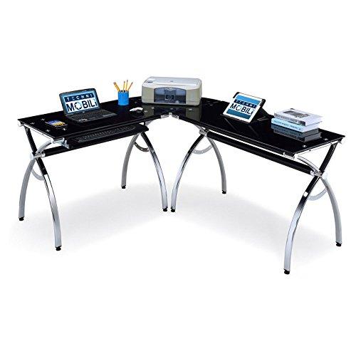 Techni Mobili Hip Black Glass Corner Computer Desk, Black, 60.75