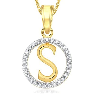 meenaz gold plated crystal s letter alphabet love heart chain necklace pendant for
