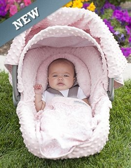 Carseat Canopy 5 Pc Whole Caboodle (Angelina) Baby Infant Car Seat Cover Kit with Minky Fabric