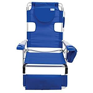 Rio Beach Face Opening Sunbed High Seat Beach Chair & Lounger, Blue
