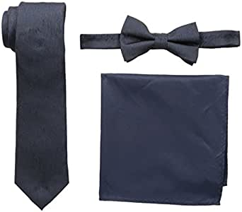 Nick Graham Men's Dot Neck Tie, Wood Grain Bow Tie and Pocket Square Set, Navy, One Size
