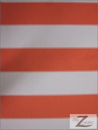 Vinyl Striped (STRIPE DECK OUTDOOR FABRIC (WATERPROOF/ANTI-UV) - Orange/Off White - DUCK VINYL SOLD BY THE YARD)